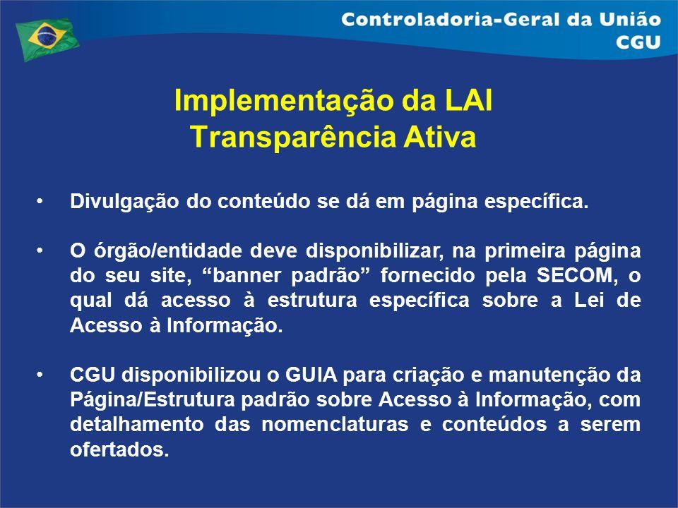 Implementação da LAI Transparência Ativa