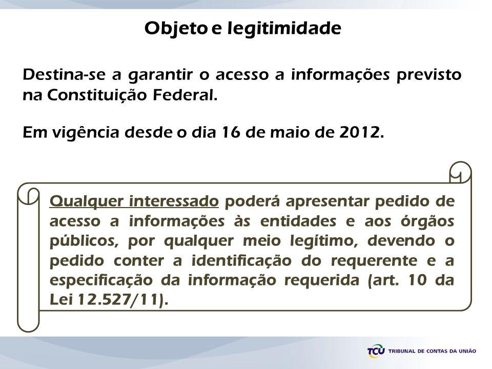 Objeto e legitimidade Destina-se a garantir o acesso a informações previsto na Constituição Federal.