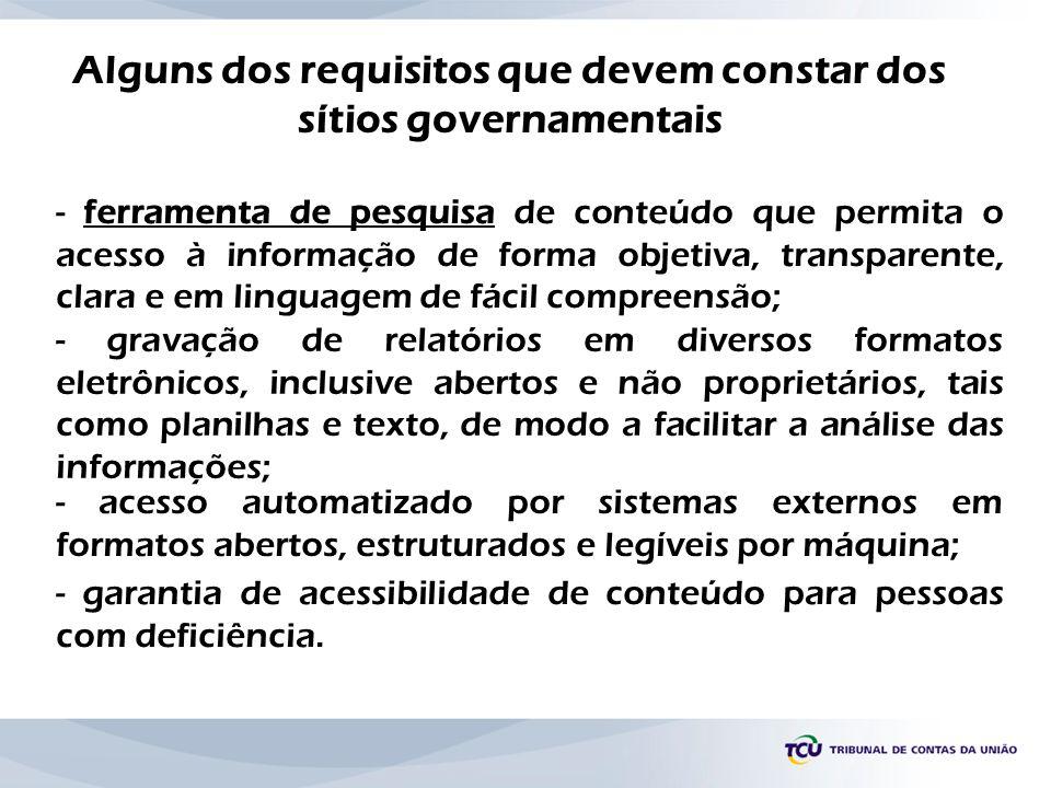 Alguns dos requisitos que devem constar dos sítios governamentais