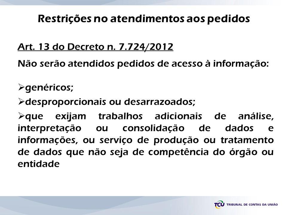 Restrições no atendimentos aos pedidos