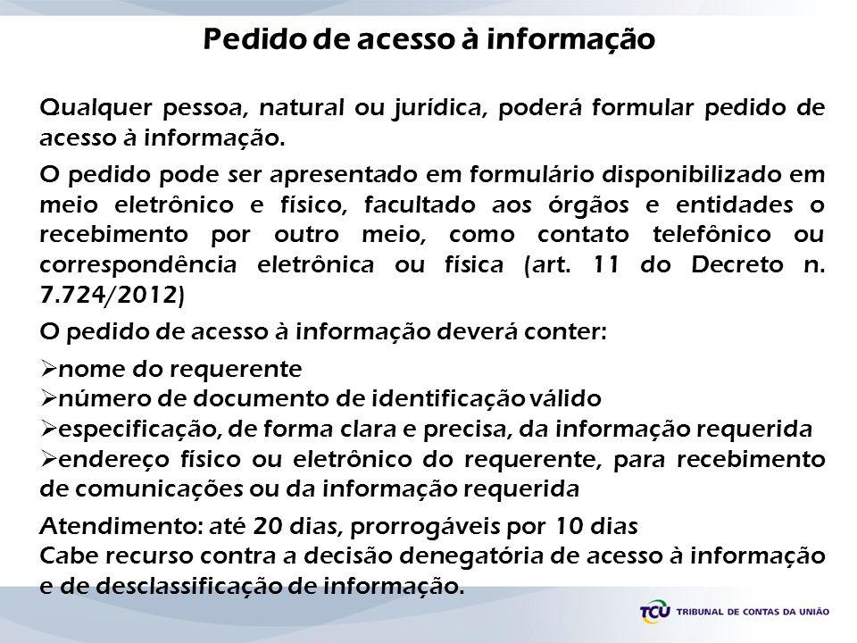 Pedido de acesso à informação