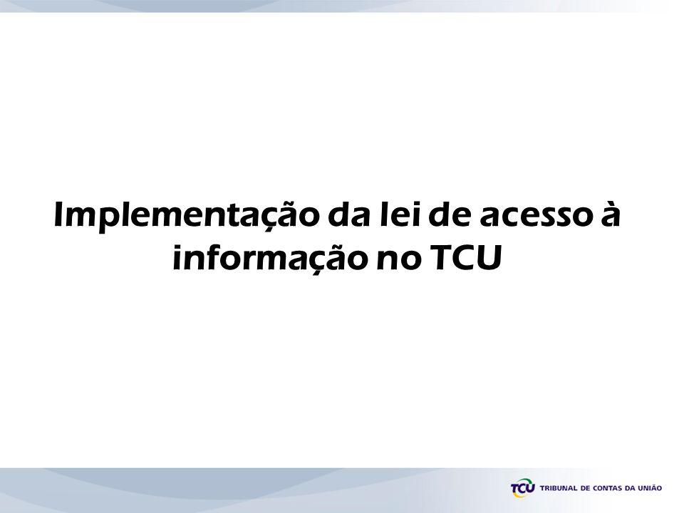 Implementação da lei de acesso à informação no TCU