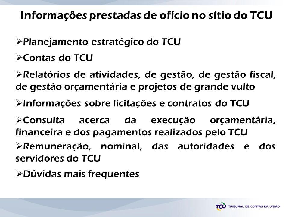 Informações prestadas de ofício no sítio do TCU