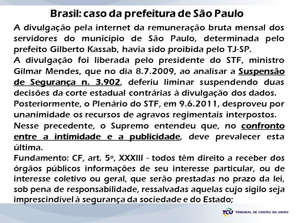 Brasil: caso da prefeitura de São Paulo