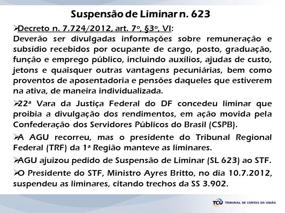 Suspensão de Liminar n. 623 Decreto n. 7.724/2012, art. 7º, §3º, VI: