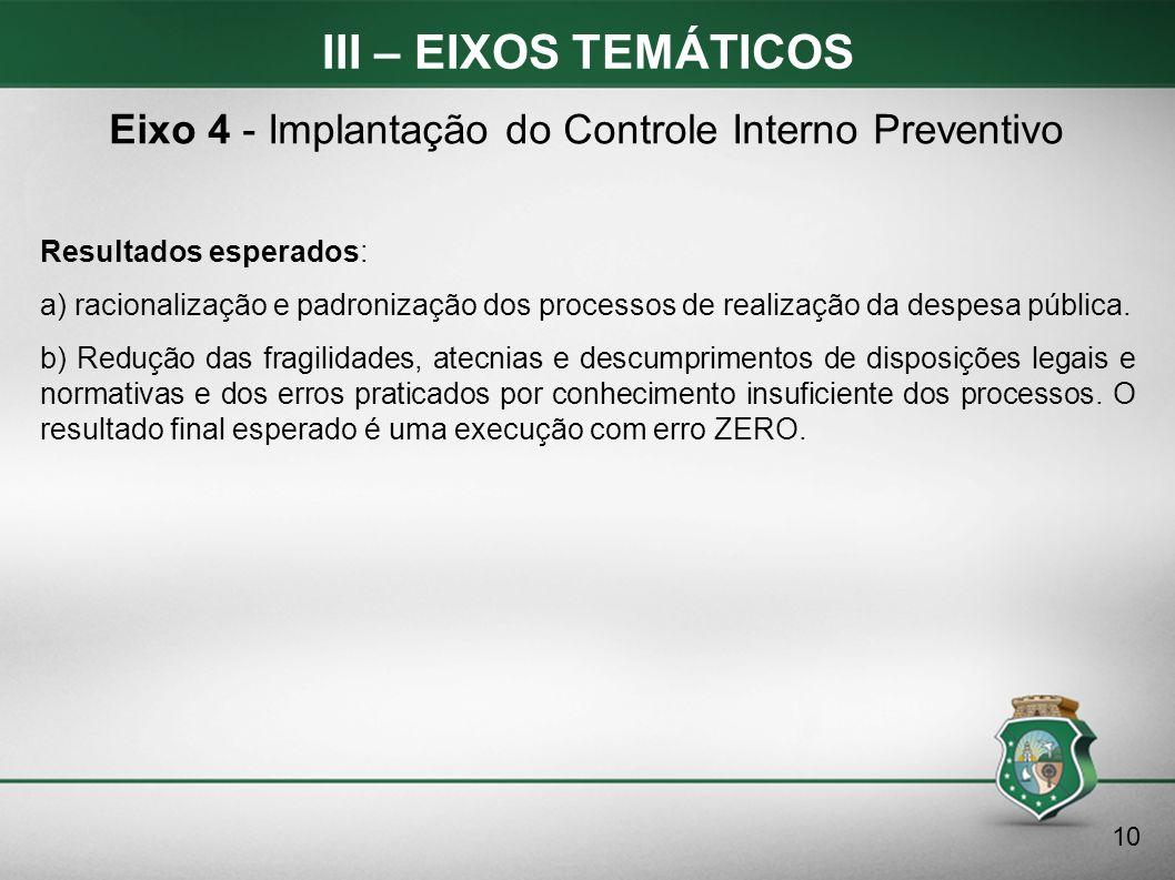 Eixo 4 - Implantação do Controle Interno Preventivo