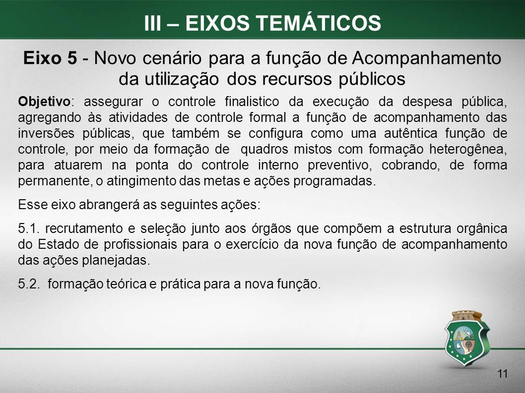 III – EIXOS TEMÁTICOS Eixo 5 - Novo cenário para a função de Acompanhamento da utilização dos recursos públicos.
