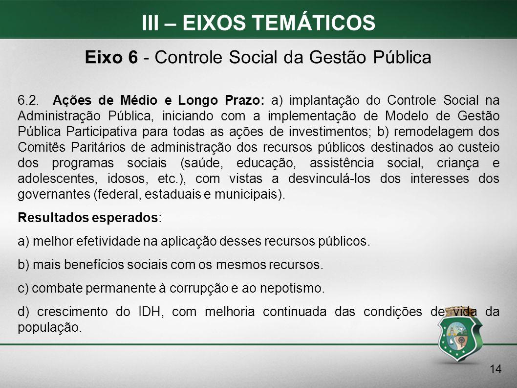 Eixo 6 - Controle Social da Gestão Pública
