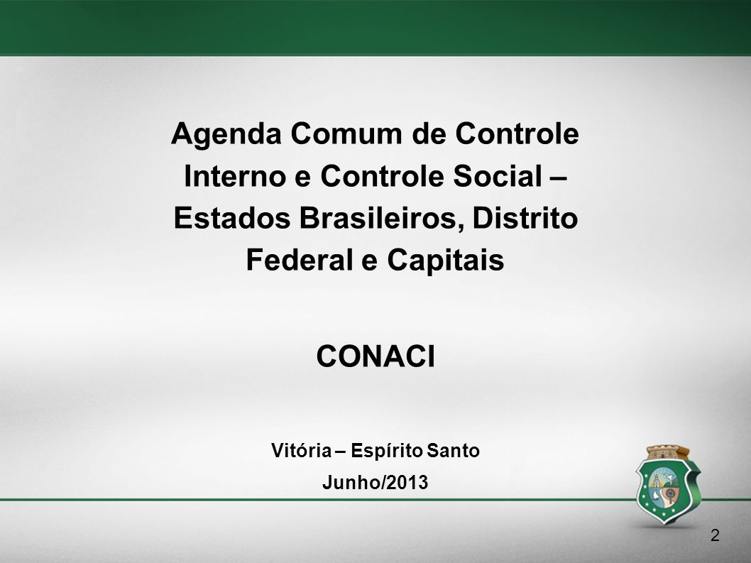 Agenda Comum de Controle Interno e Controle Social –