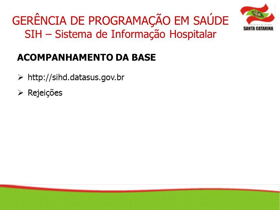 GERÊNCIA DE PROGRAMAÇÃO EM SAÚDE SIH – Sistema de Informação Hospitalar