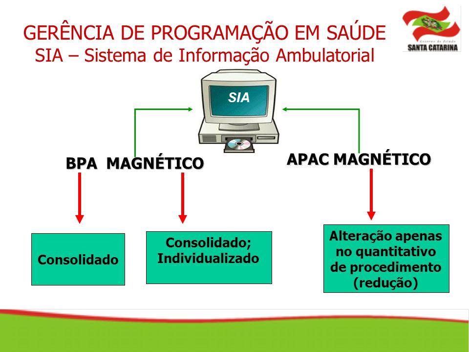 GERÊNCIA DE PROGRAMAÇÃO EM SAÚDE SIA – Sistema de Informação Ambulatorial