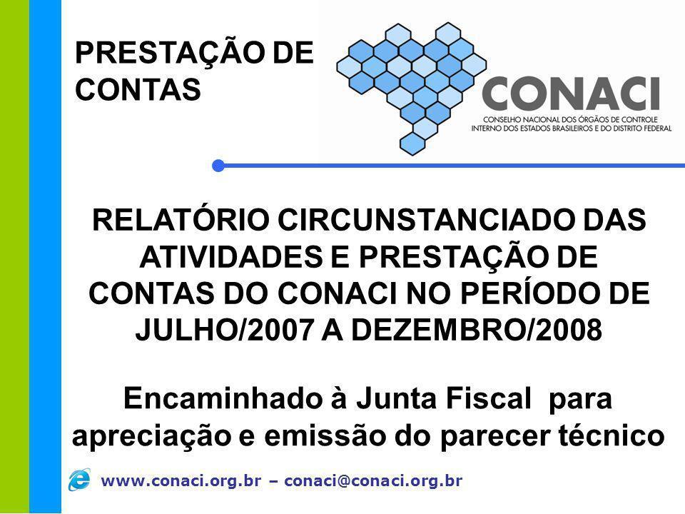 PRESTAÇÃO DE CONTAS RELATÓRIO CIRCUNSTANCIADO DAS ATIVIDADES E PRESTAÇÃO DE CONTAS DO CONACI NO PERÍODO DE.