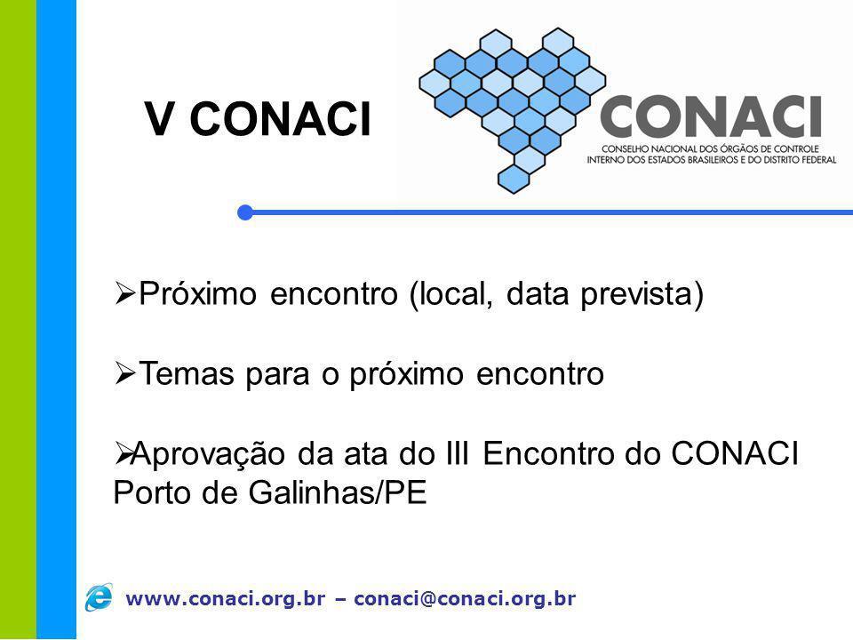 V CONACI Próximo encontro (local, data prevista)
