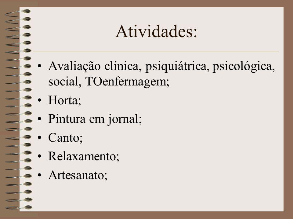 Atividades: Avaliação clínica, psiquiátrica, psicológica, social, TOenfermagem; Horta; Pintura em jornal;