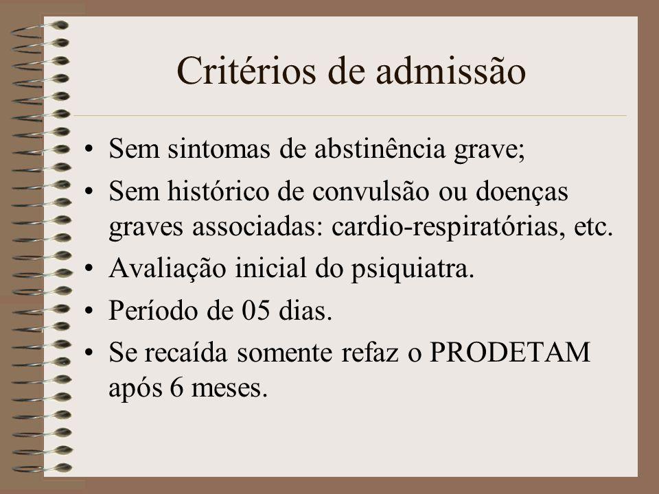 Critérios de admissão Sem sintomas de abstinência grave;