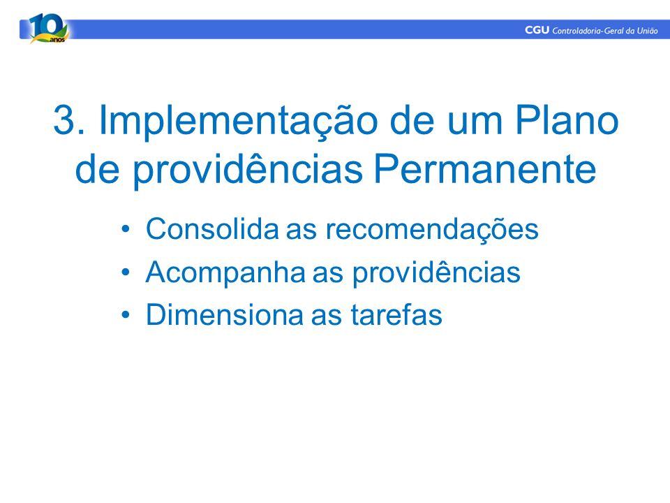 3. Implementação de um Plano de providências Permanente