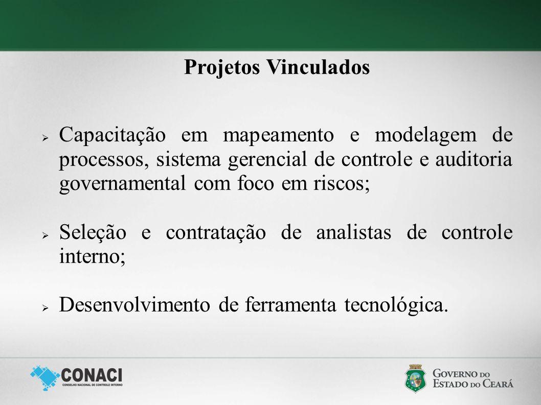 Projetos Vinculados Capacitação em mapeamento e modelagem de processos, sistema gerencial de controle e auditoria governamental com foco em riscos;