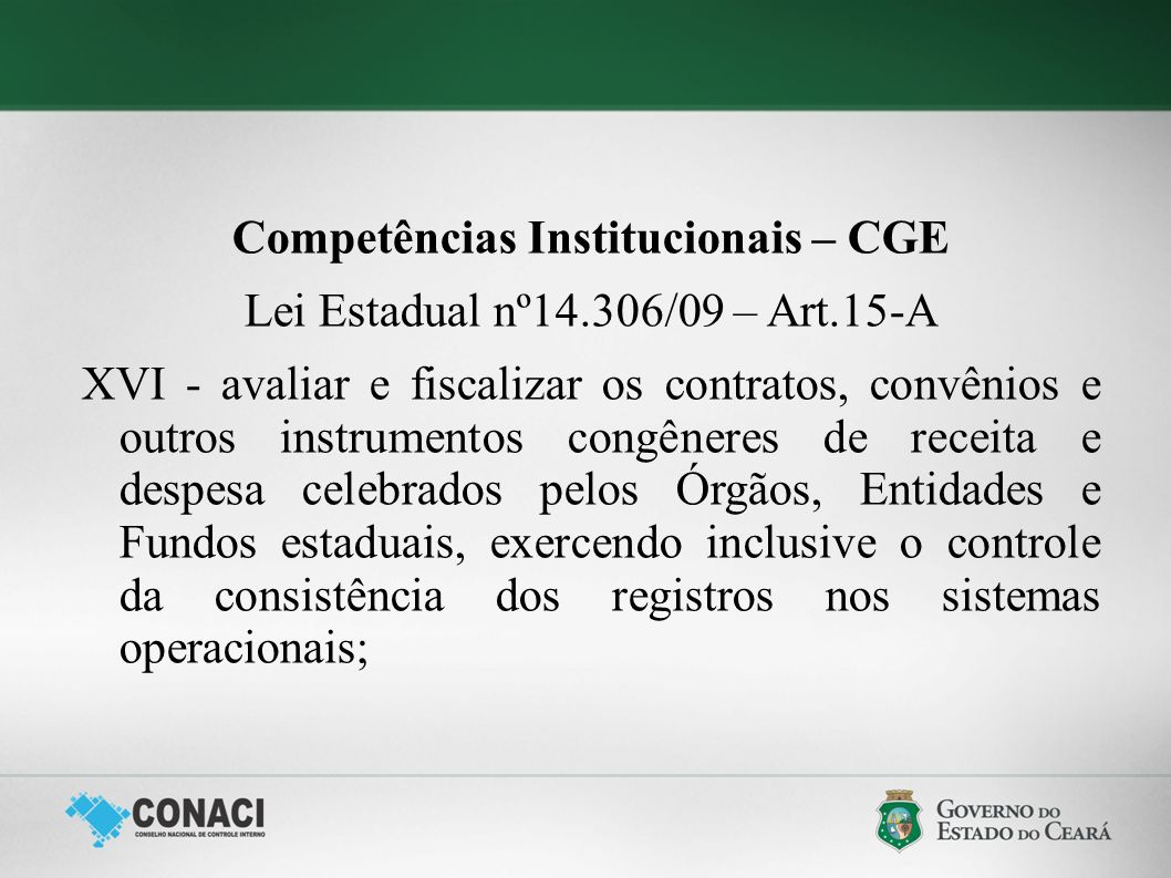Competências Institucionais – CGE