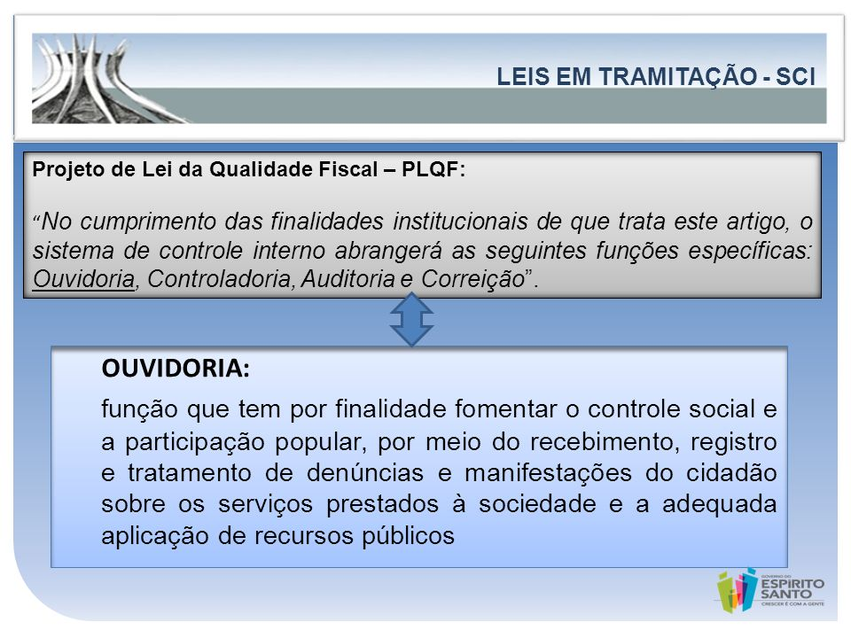 ASPECTO LEGAL LEIS EM TRAMITAÇÃO - SCI. Projeto de Lei da Qualidade Fiscal – PLQF: