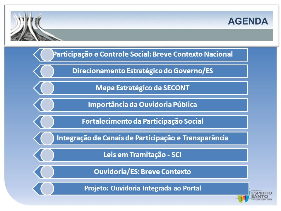 AGENDA AGENDA Participação e Controle Social: Breve Contexto Nacional