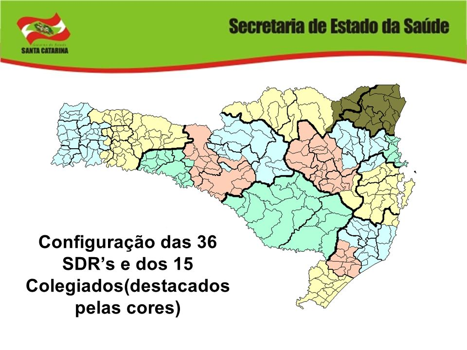 Configuração das 36 SDR's e dos 15 Colegiados(destacados pelas cores)