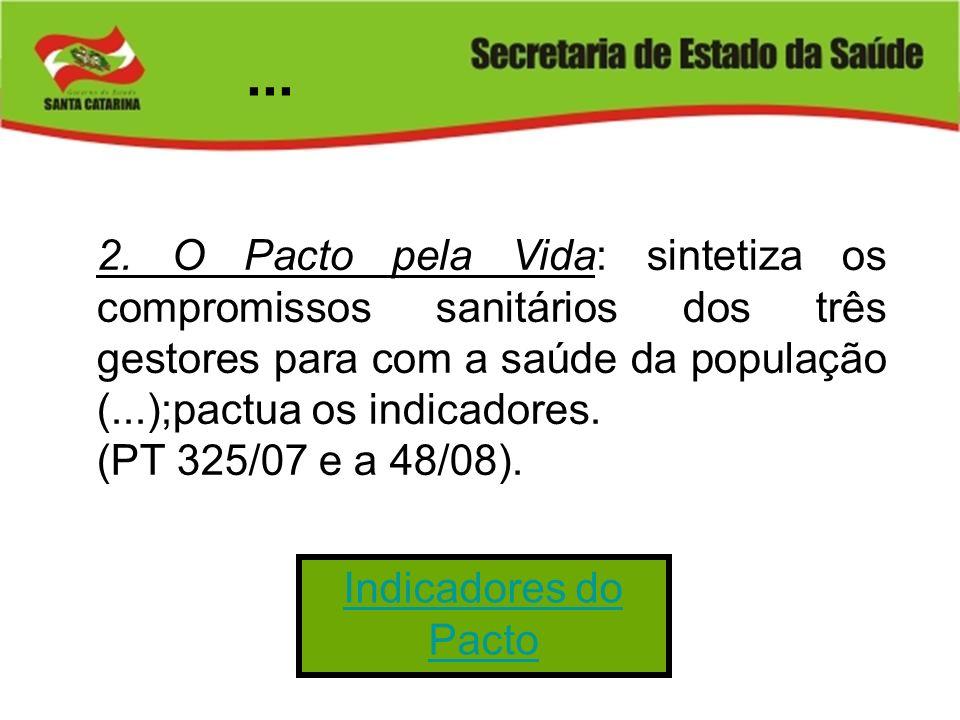 ... 2. O Pacto pela Vida: sintetiza os compromissos sanitários dos três gestores para com a saúde da população (...);pactua os indicadores.