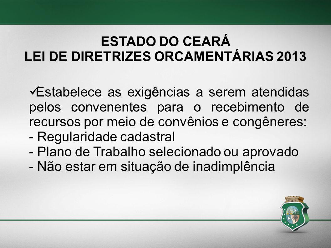 LEI DE DIRETRIZES ORCAMENTÁRIAS 2013