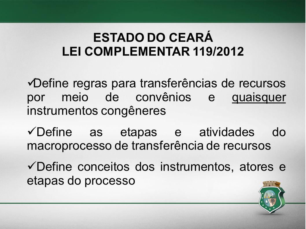 ESTADO DO CEARÁ LEI COMPLEMENTAR 119/2012. Define regras para transferências de recursos por meio de convênios e quaisquer instrumentos congêneres.