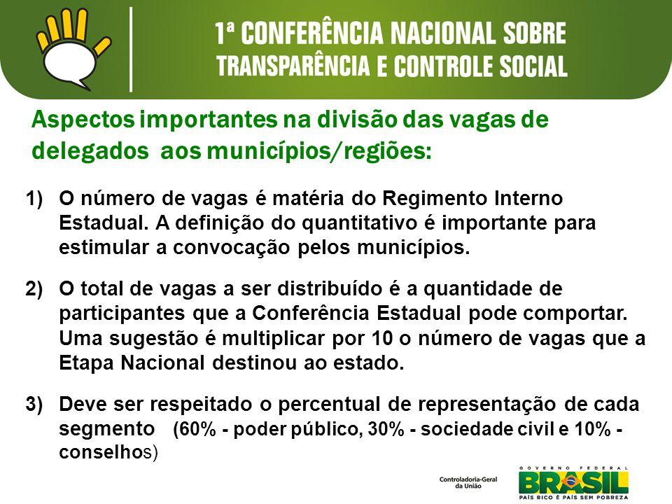 Aspectos importantes na divisão das vagas de delegados aos municípios/regiões: