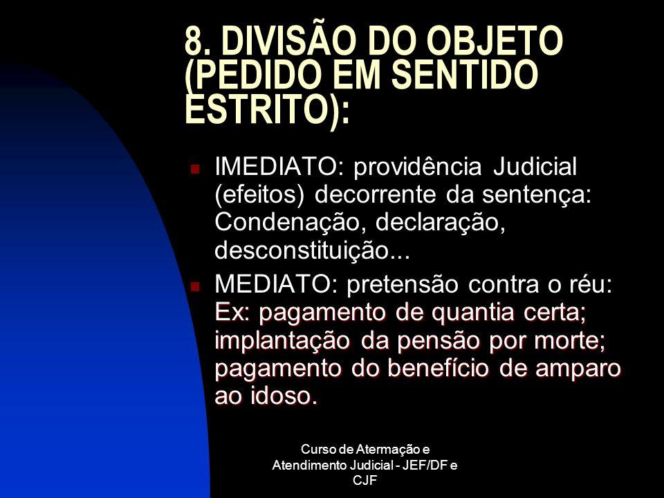 8. DIVISÃO DO OBJETO (PEDIDO EM SENTIDO ESTRITO):