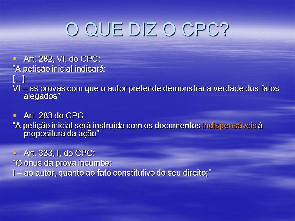 O QUE DIZ O CPC Art. 282, VI, do CPC: A petição inicial indicará: