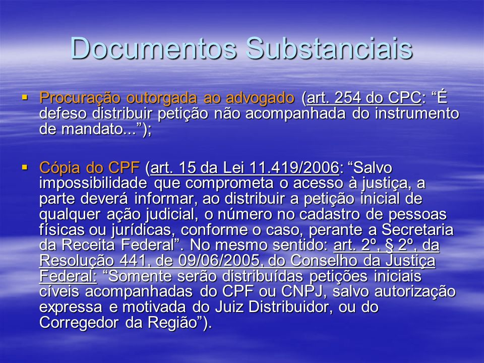 Documentos Substanciais