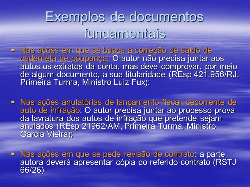 Exemplos de documentos fundamentais