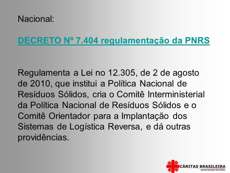DECRETO Nº 7.404 regulamentação da PNRS