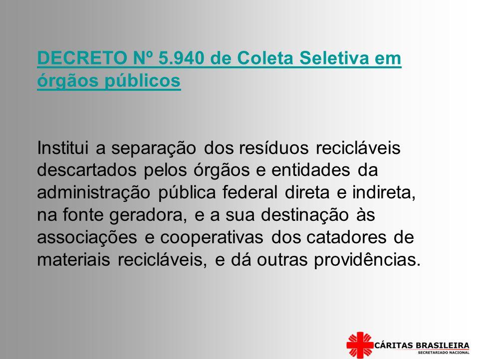 DECRETO Nº 5.940 de Coleta Seletiva em órgãos públicos