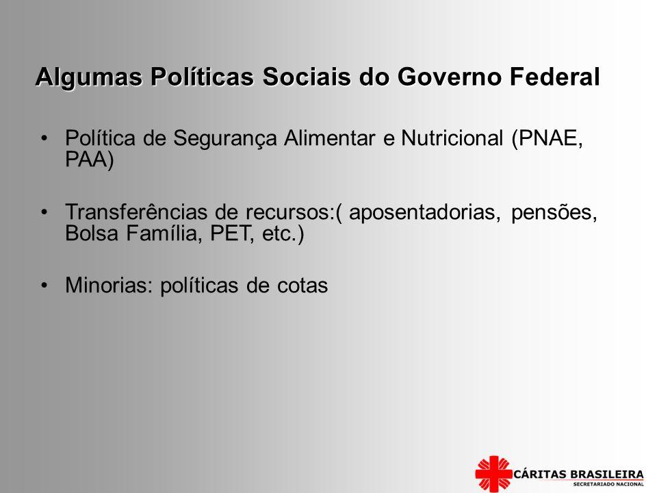 Algumas Políticas Sociais do Governo Federal