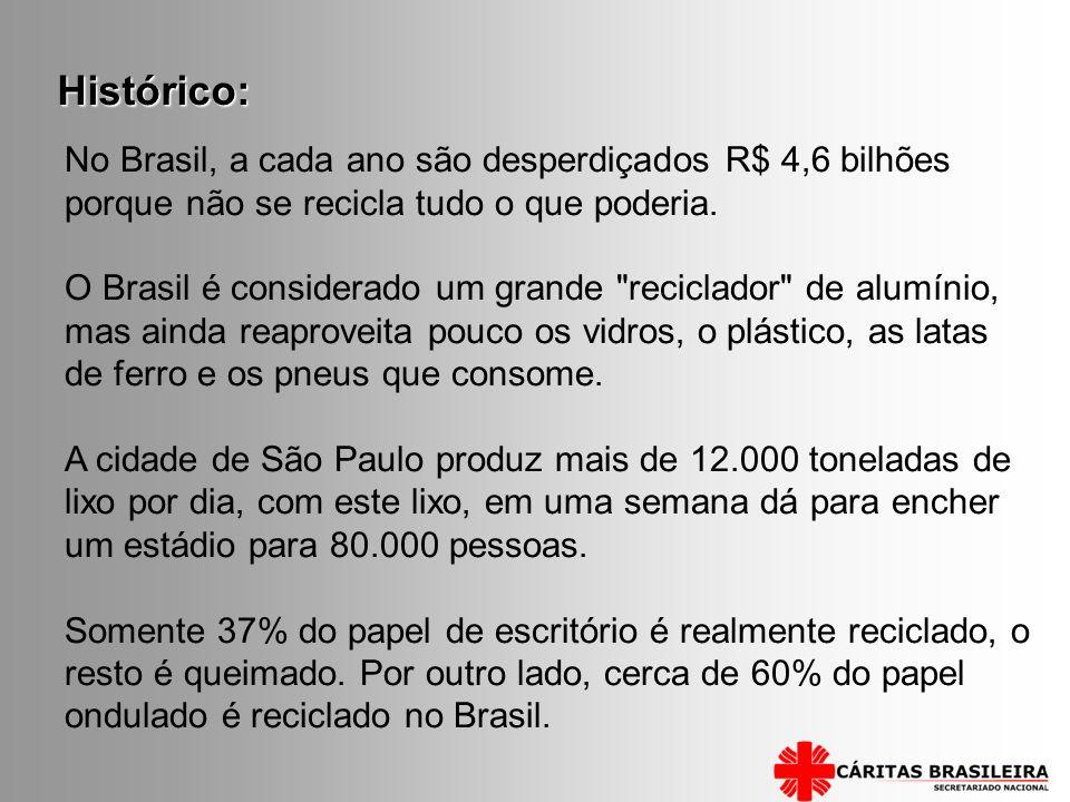 Histórico: No Brasil, a cada ano são desperdiçados R$ 4,6 bilhões porque não se recicla tudo o que poderia.