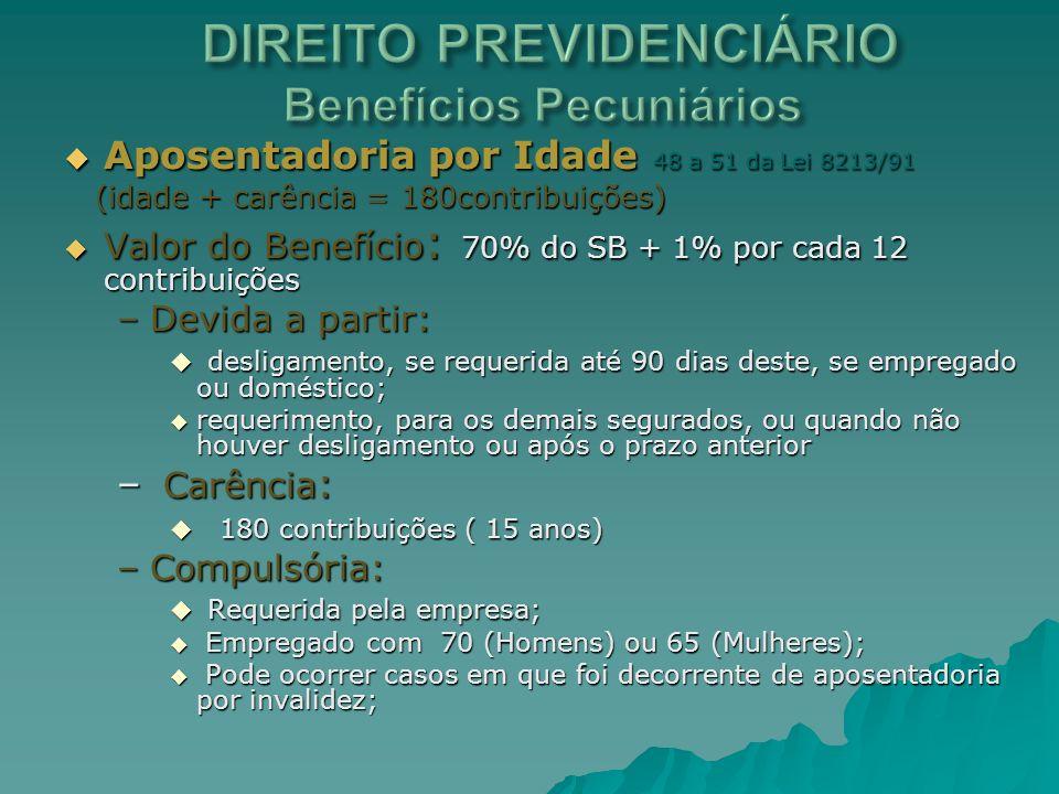 DIREITO PREVIDENCIÁRIO Benefícios Pecuniários