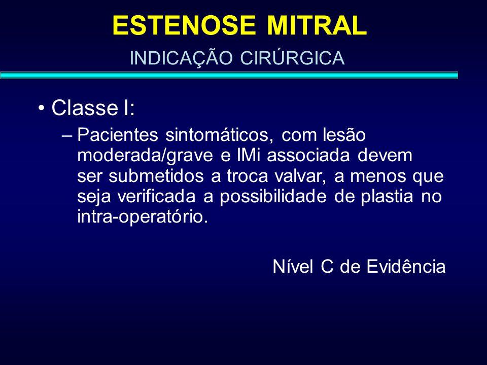 ESTENOSE MITRAL Classe I: INDICAÇÃO CIRÚRGICA