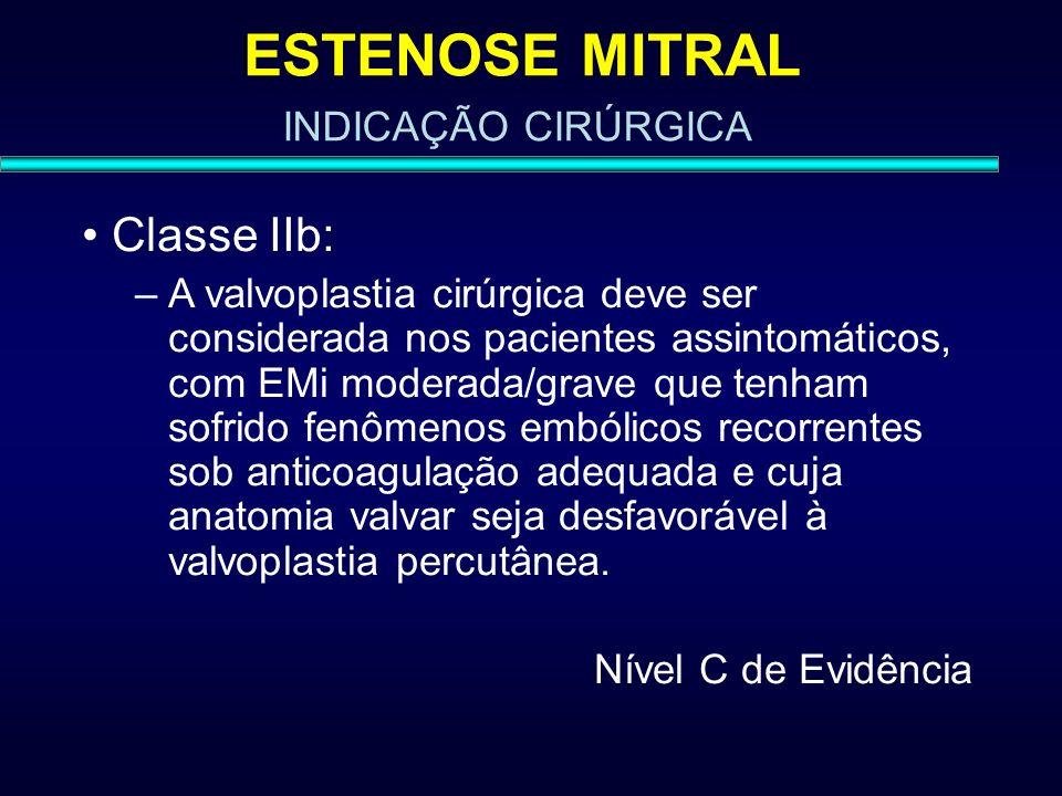 ESTENOSE MITRAL Classe IIb: INDICAÇÃO CIRÚRGICA