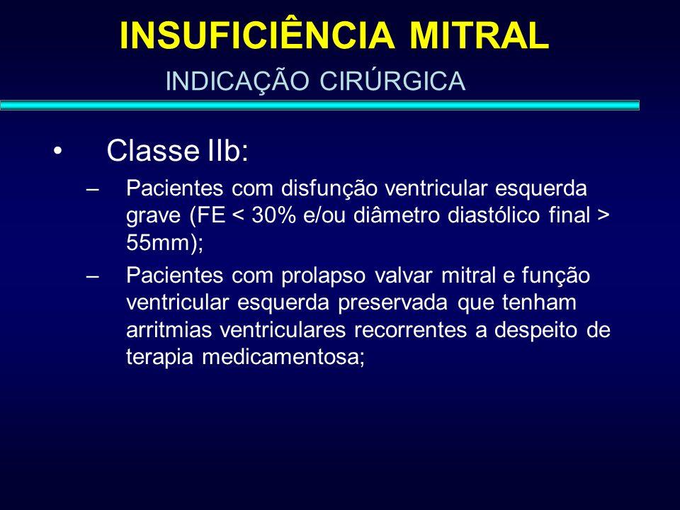 INSUFICIÊNCIA MITRAL Classe IIb: INDICAÇÃO CIRÚRGICA