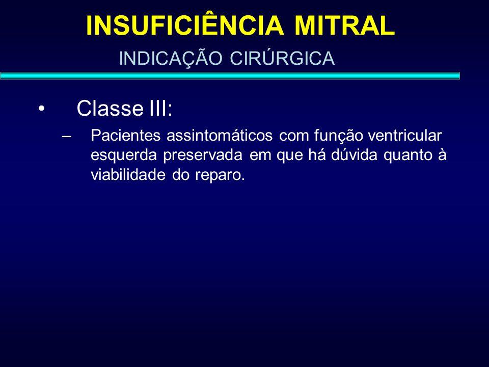 INSUFICIÊNCIA MITRAL Classe III: INDICAÇÃO CIRÚRGICA