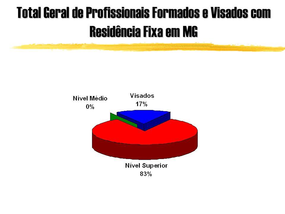 Total Geral de Profissionais Formados e Visados com Residência Fixa em MG