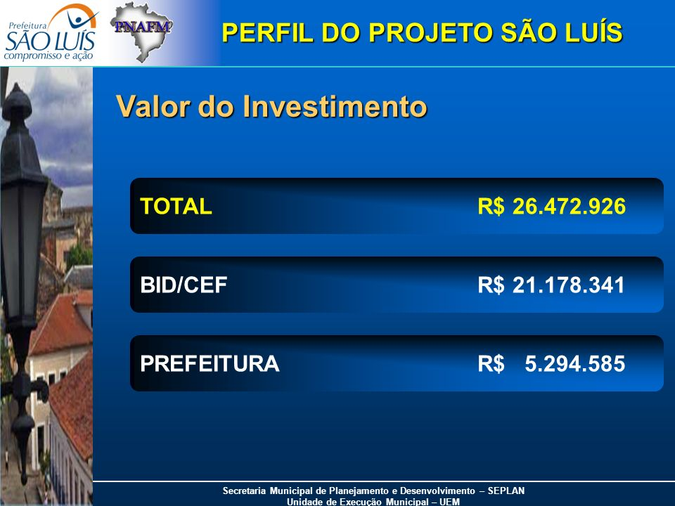 Valor do Investimento PERFIL DO PROJETO SÃO LUÍS TOTAL R$ 26.472.926