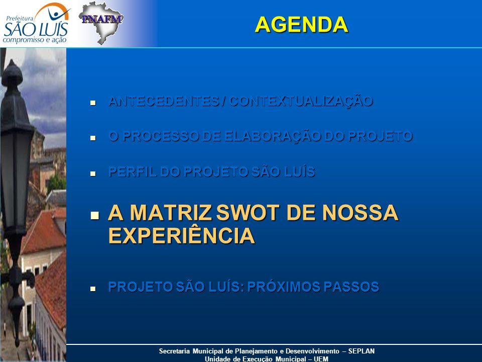 A MATRIZ SWOT DE NOSSA EXPERIÊNCIA