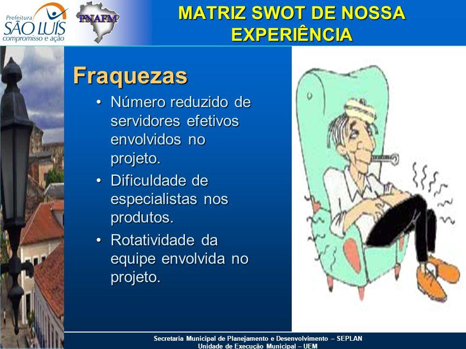 MATRIZ SWOT DE NOSSA EXPERIÊNCIA
