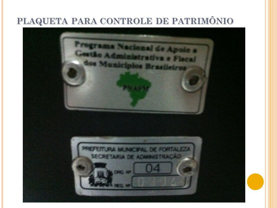 PLAQUETA PARA CONTROLE DE PATRIMÔNIO