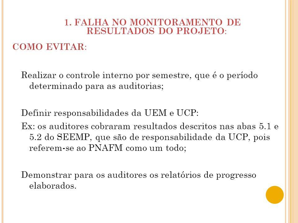 1. FALHA NO MONITORAMENTO DE RESULTADOS DO PROJETO:
