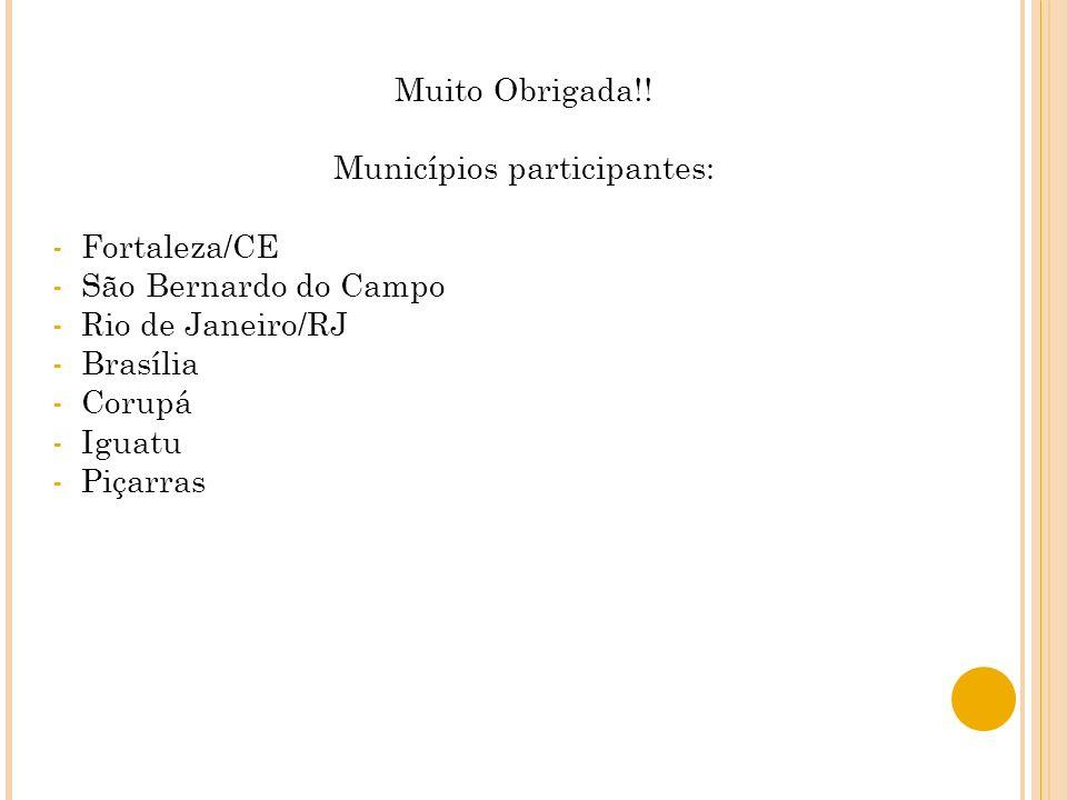 Municípios participantes: