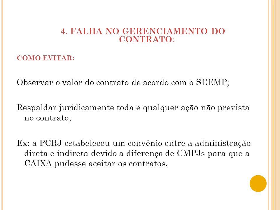 4. FALHA NO GERENCIAMENTO DO CONTRATO:
